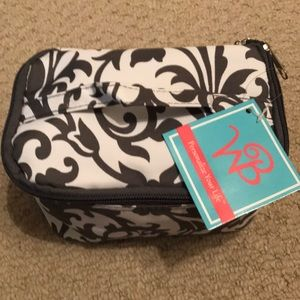 NWT Grey & White Zippered Pouch/Cosmetic Bag!
